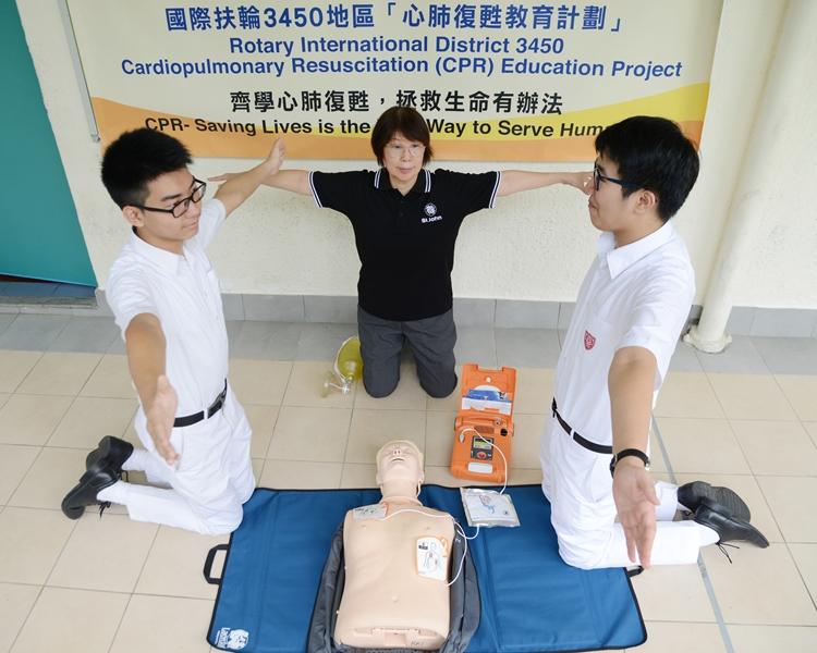 東北扶輪社協助計中四及中五的學生全體免費學習心肺復甦法。資料圖片