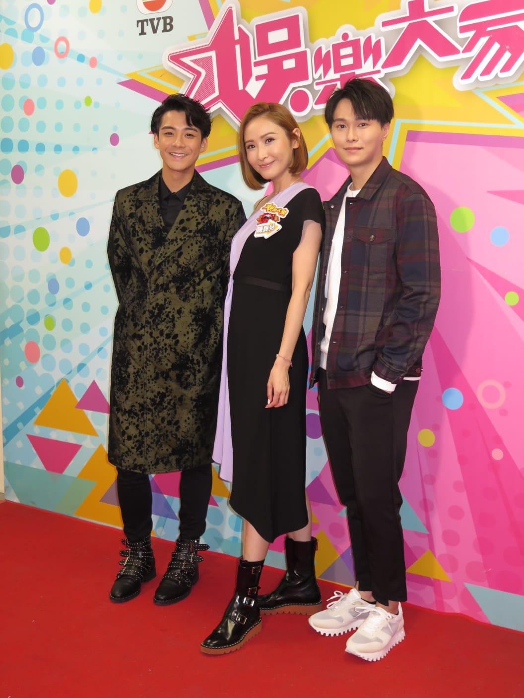(右起)胡鴻鈞、陳貝兒及余德丞晚上錄影《娛樂大家》。