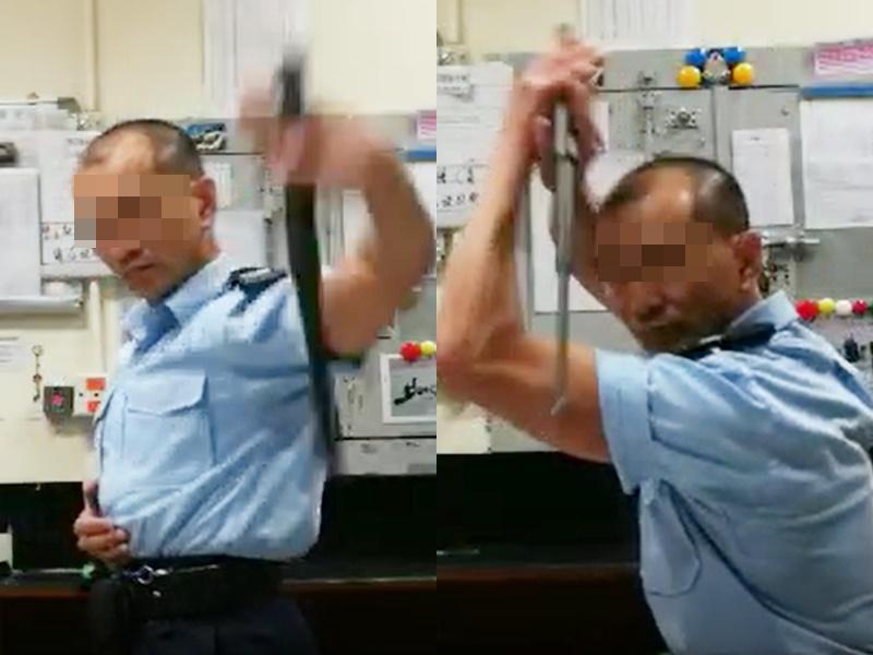 疑似警員玩警棍片瘋傳。影片截圖
