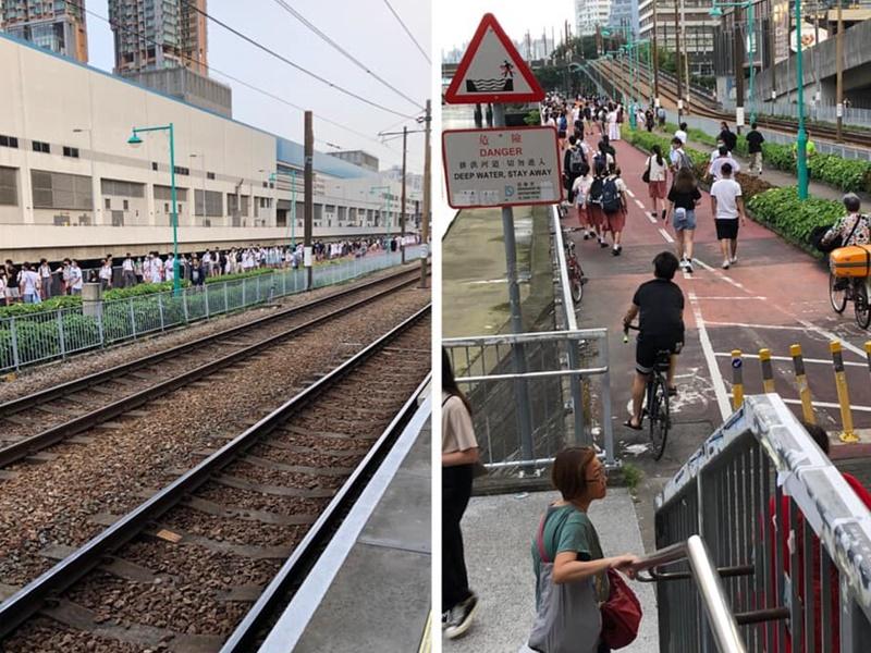 屯門20多間中學學生下午發起「聯校人鏈」活動。網民Maggie Leung圖片