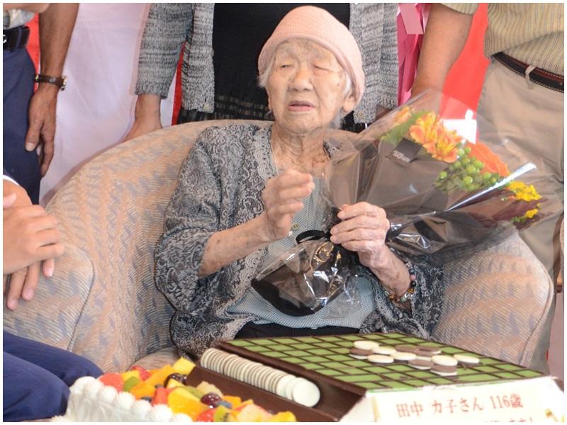 現年116歲的田中加子是全球最年長人類,以及全球最年長女性。網圖