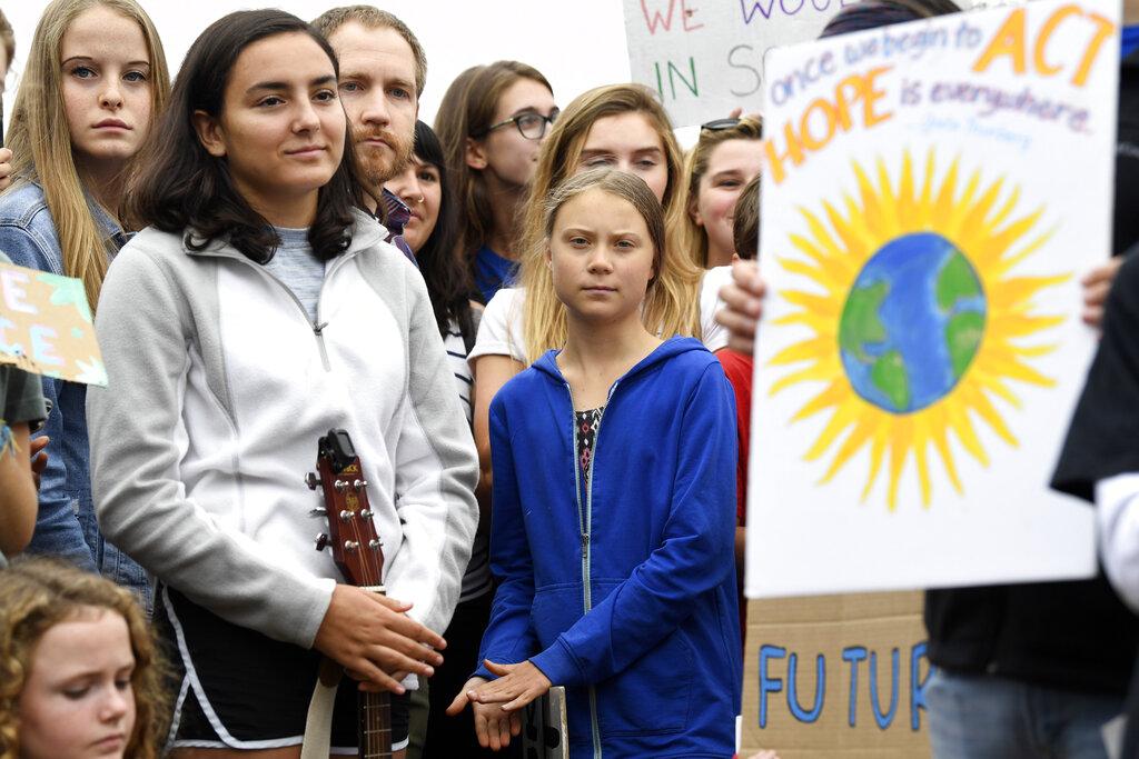 瑞典環保少女白宮外示威,籲特朗普正視全球暖化。AP