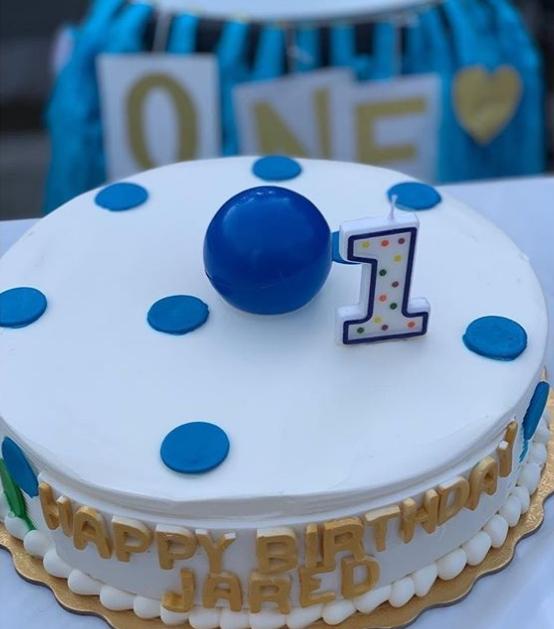 Jared 1歲蛋糕。鍾嘉欣IG