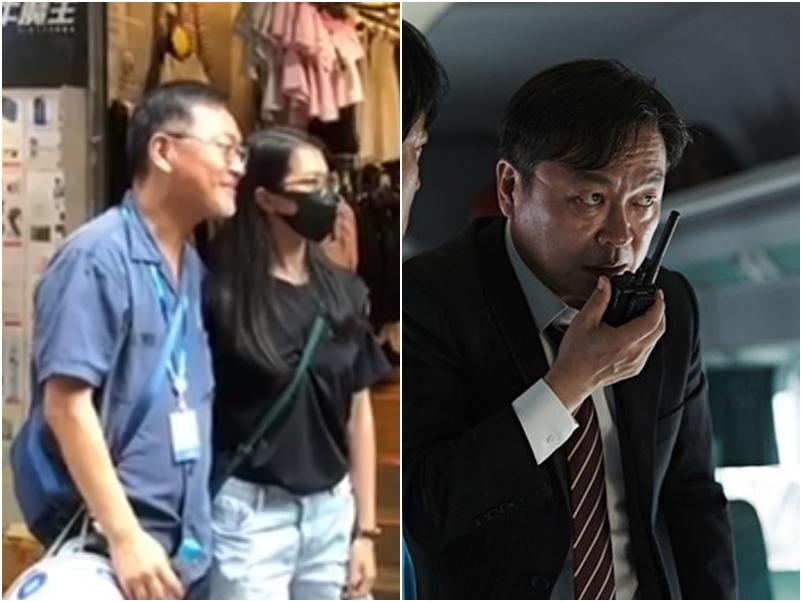 金義聖與途人合照。香港恒生大學學生會編輯委員會FB影片截圖(左)
