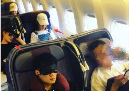 疑似二人5月一同乘搭飛機的照片。網圖
