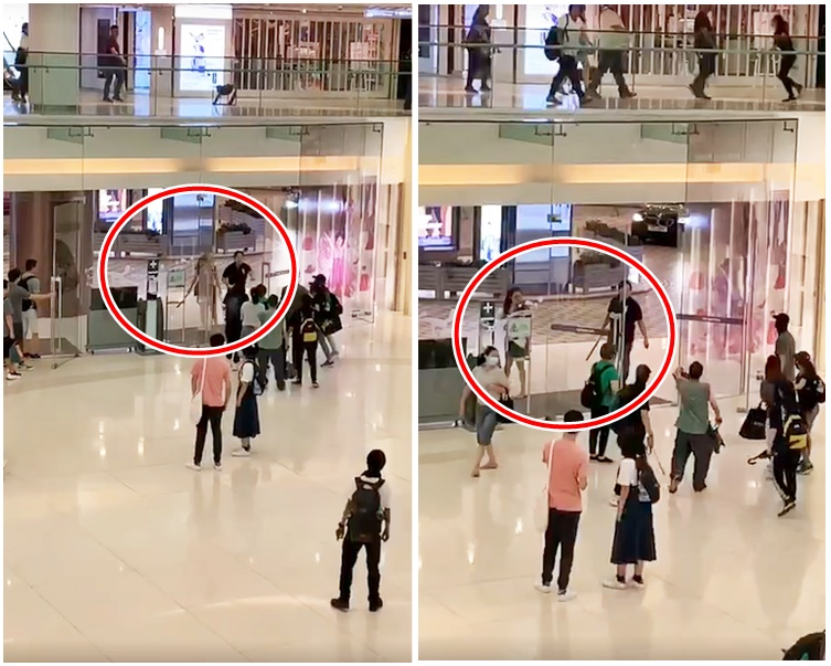 兩人分別拿鐵通和長刀到商場外揮舞(紅圈示)。網上截圖