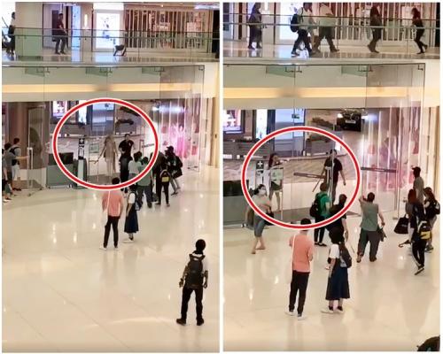 【修例風波】市民聚沙田新城市合唱 中年男女到場揮刀及鐵通
