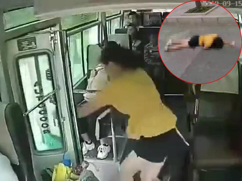 靠門處一名女子突然跳車,被摔得不省人事,經搶救無效已死亡。(網圖)