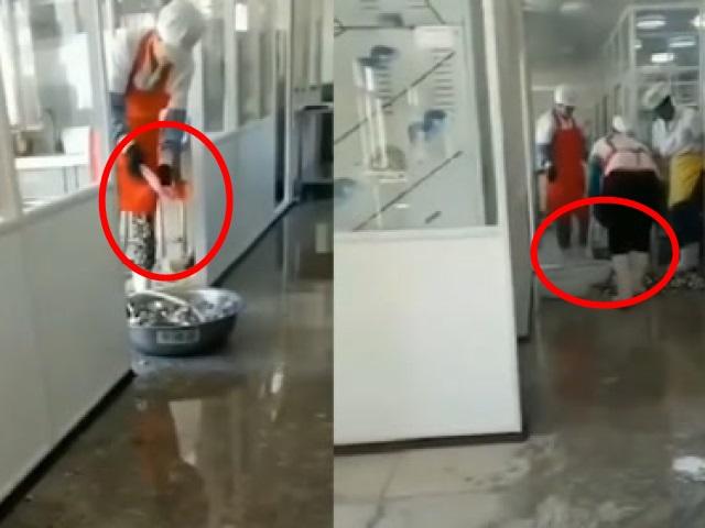 遼寧一小學用洗衣粉清洗學生餐具,負責人已被停職。影片截圖