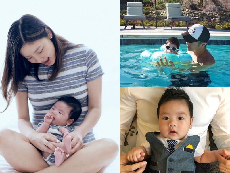 樂基兒上載囝囝首個泳池派對照片。網上圖片