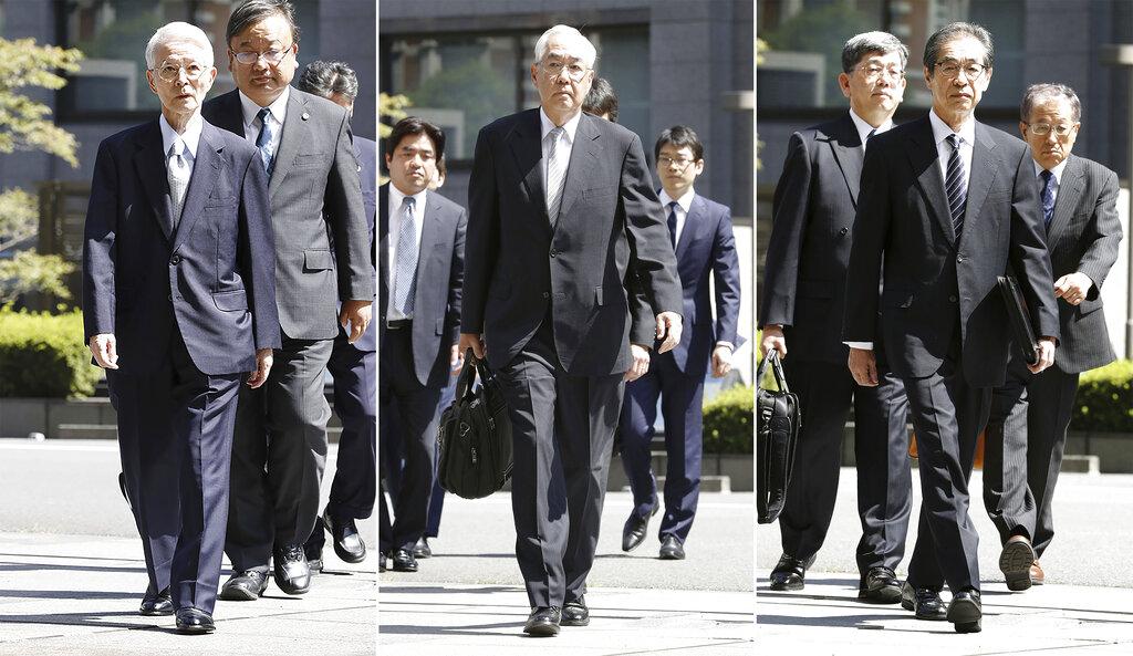 東京電力77歲前會長勝俣久(左)、69歲前副社長武藤榮(中)和73歲的前副社長武黑一郎。AP