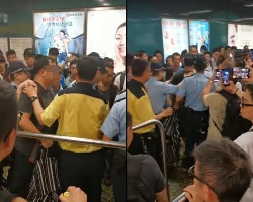 【修例風波】男子深水埗站疑捉女子跳閘引爭執 抗議人士轉至包圍警署
