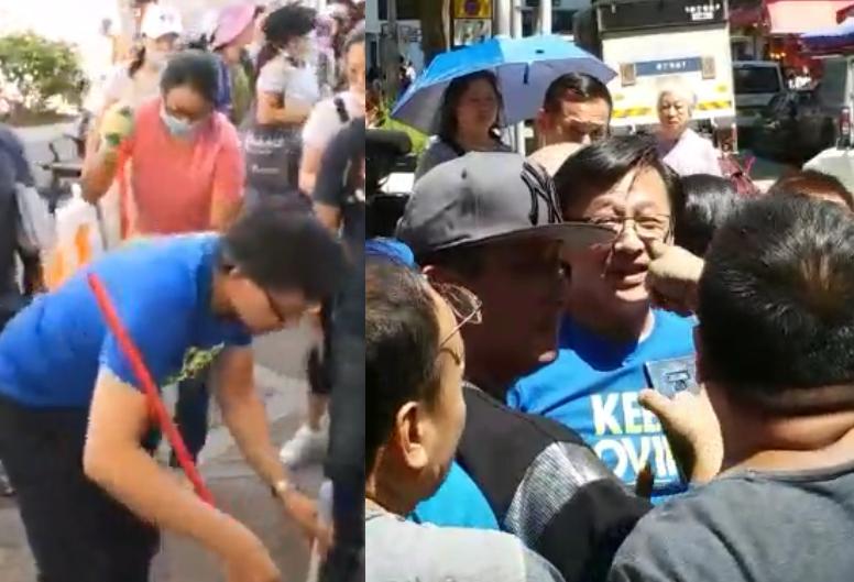 何君堯到筲箕灣掃街,遭街坊指罵。