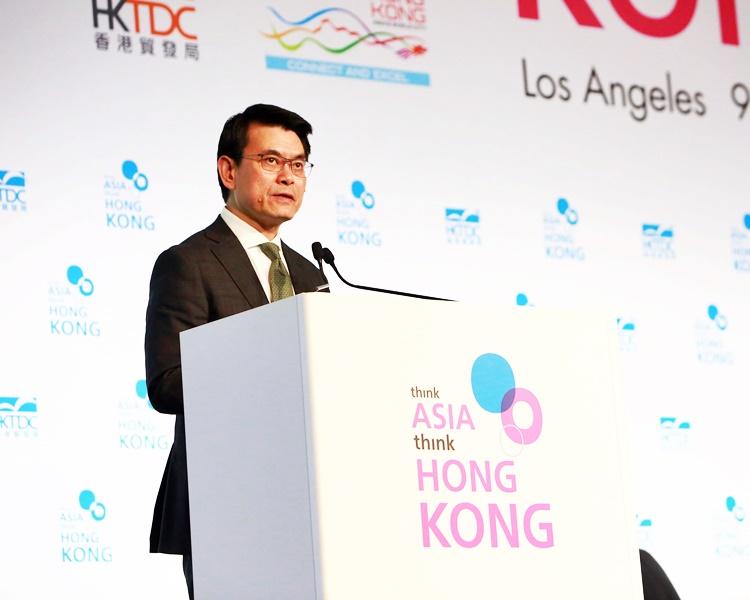 邱騰華在洛杉磯出席由香港貿易發展局舉辦的「邁向亞洲首選香港」論壇並致辭。
