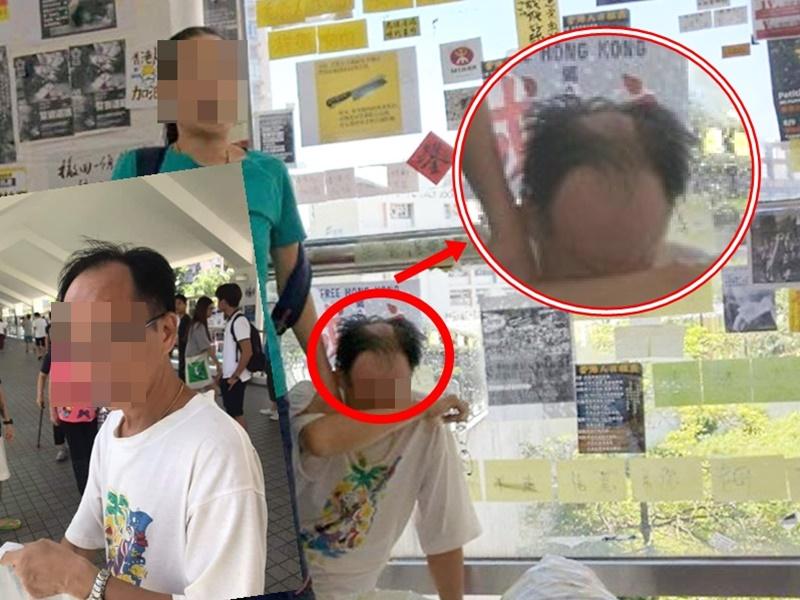 中年漢撕紙,傳出被剃頭。網上圖片
