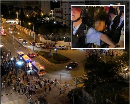 【修例風波】13歲男童被捕 將軍澳逾100人圍警署掉磚 警射催淚彈