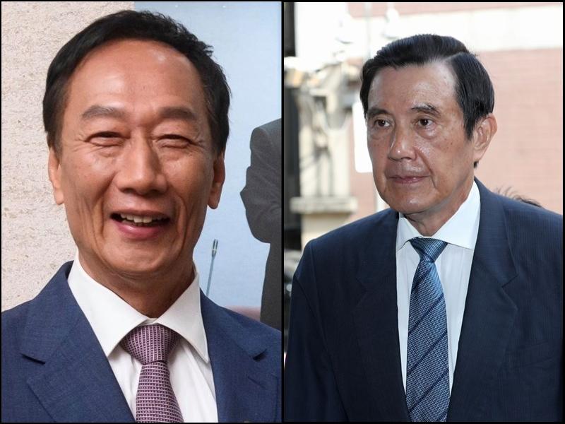 郭台銘(左)、馬英九(右)。
