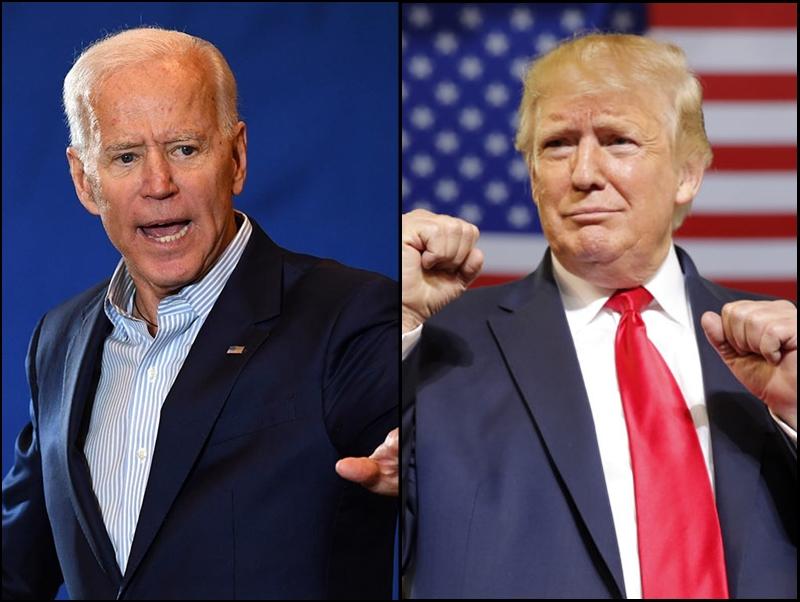 拜登(左)周六要求國會介入,調查特朗普(右)是否濫權。
