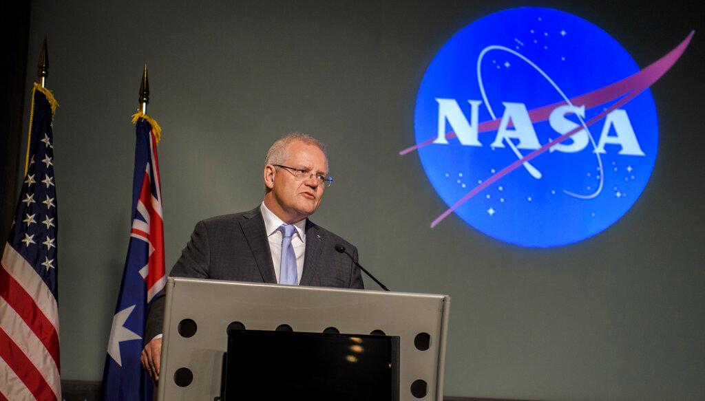 澳洲總理莫里森在NASA演講。AP