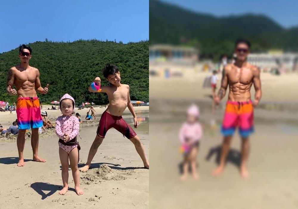張繼聰帶子女到沙灘享受Daddy Time,不忘晒肌。