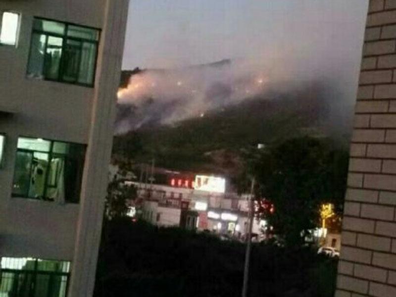 江蘇連雲港市花果山突發山火。(網圖)