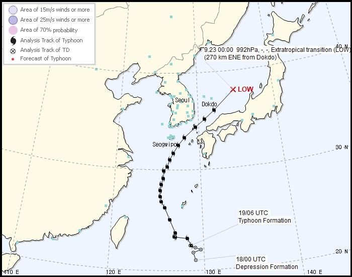 「塔巴」現時位置。韓國氣象廳圖