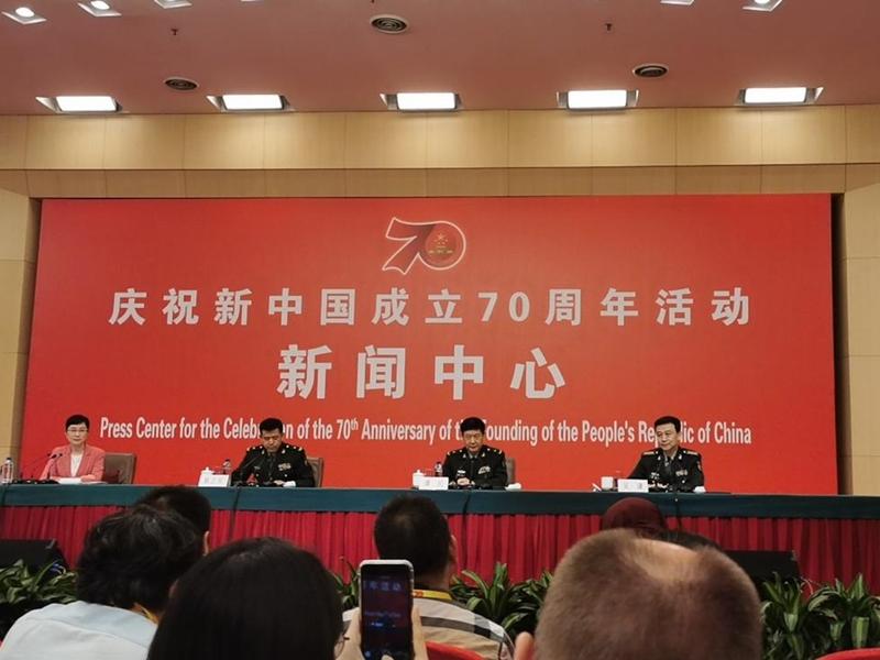 慶祝新中國成立70周年活動新聞中心舉辦首場專題集體採訪。張言天攝