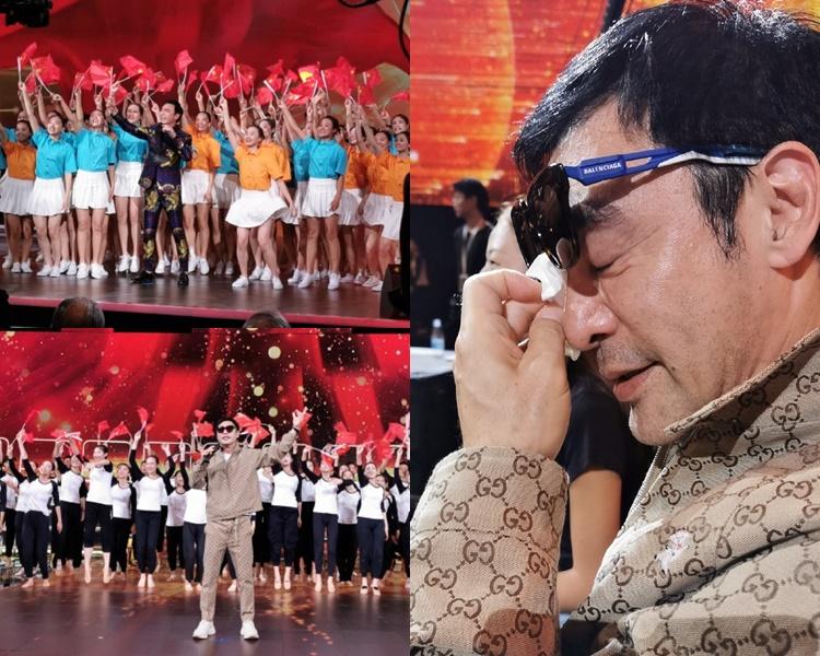 鍾鎮濤為國慶節目表演,綵排時已被一起演出的學生們感動。(微博圖片)