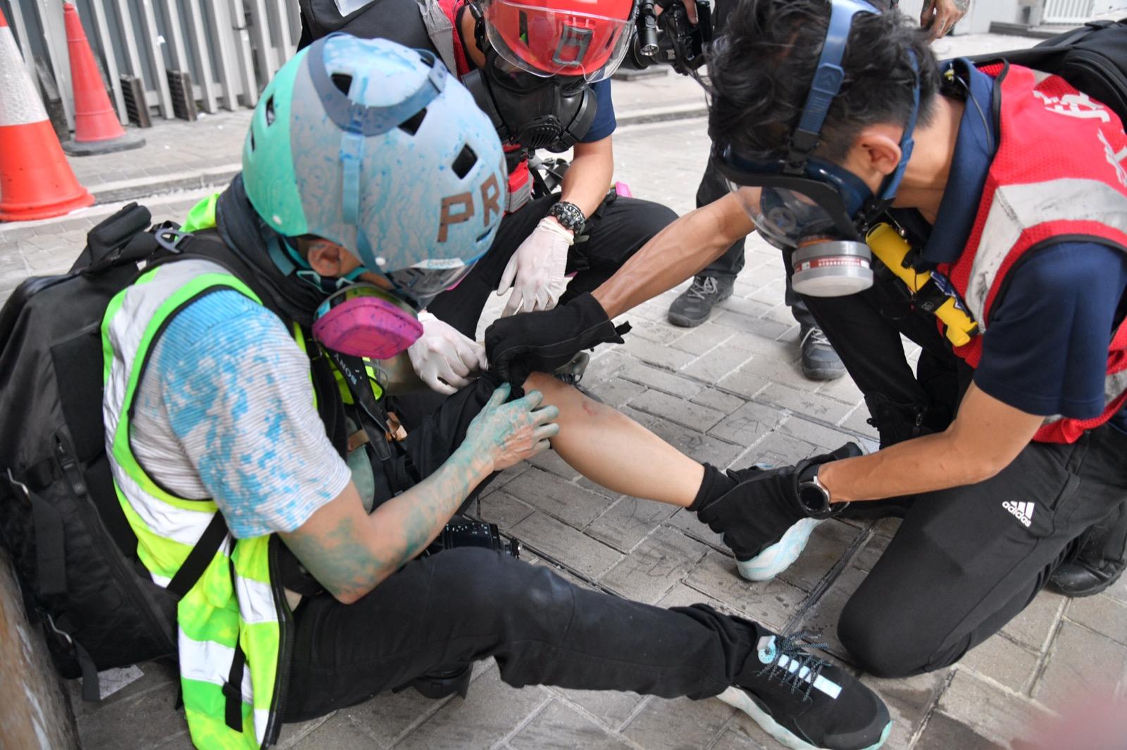 示威衝突中多人受傷。