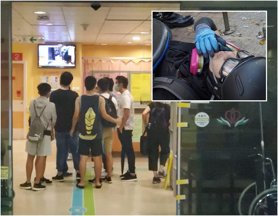 槍傷男示威者(小圖)仍然危殆 ;事主親友到醫院了解。
