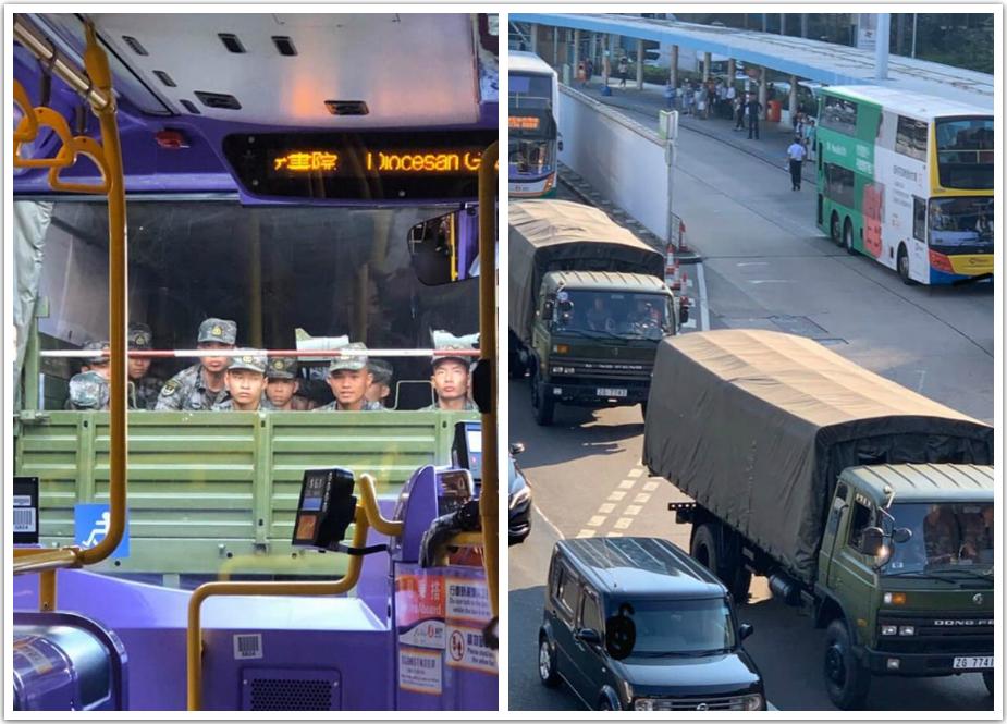 網民拍攝到解放軍軍車行走。突發事故報料區圖片