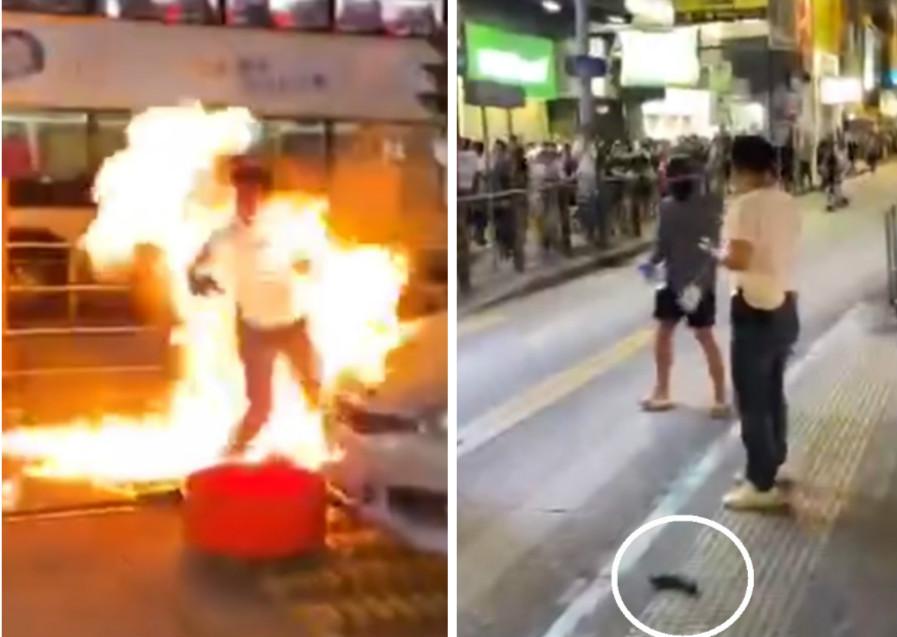 警員被投擲汽油彈。網上截圖