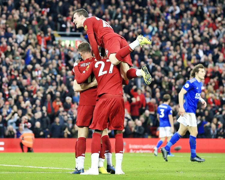 利物浦擊敗李斯特城後,今季8戰全勝,聯賽跨季17連勝。AP