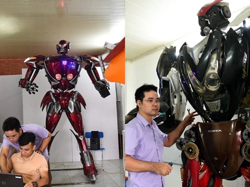 越南工程师团队以电单车零件製机械人。网上图片