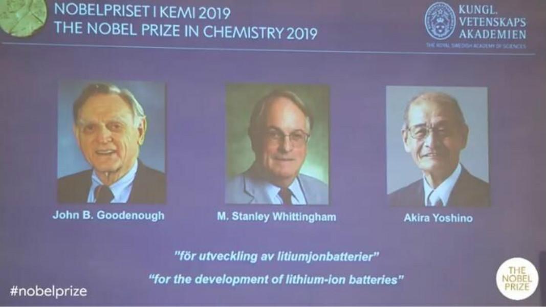 今年諾貝爾獎化學獎分別由3名分別來自美國、英國及日本的化學家共同獲得殊榮。 網圖
