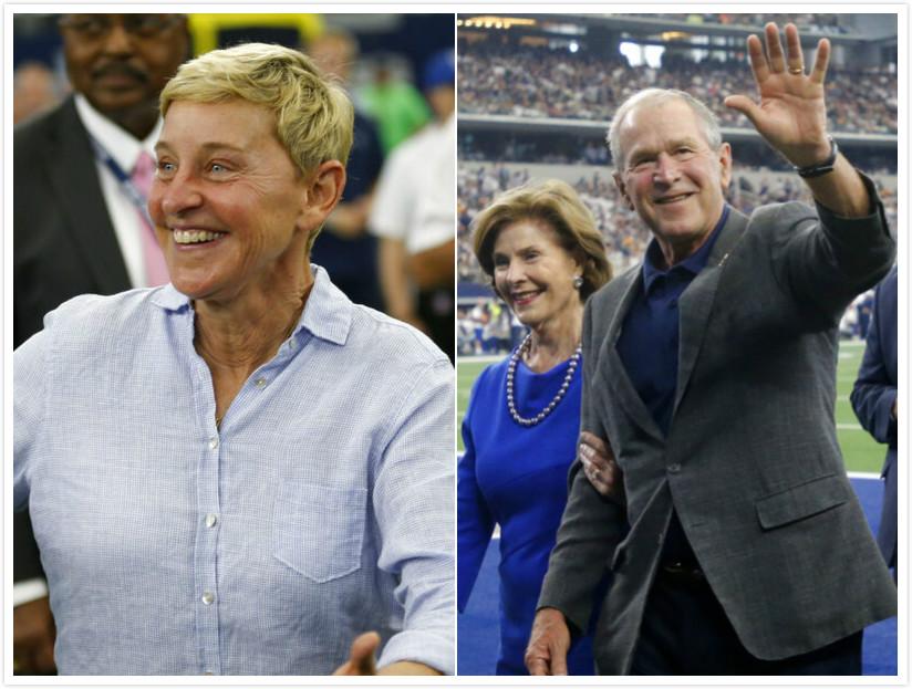美國電視女名嘴艾倫狄珍妮被發現於日前與前總統喬治布殊一同去觀看球賽。AP