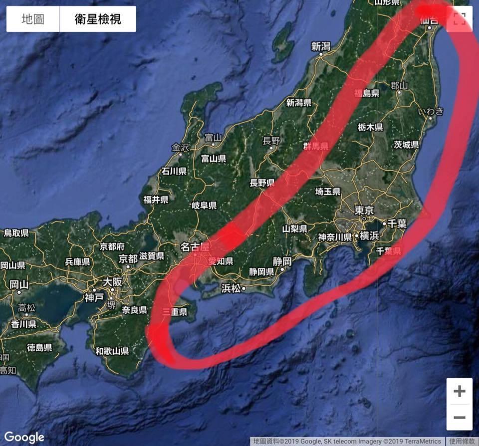 賈新興表示,颱風直接侵襲日本,最危險的區域大致在標示的紅線範圍。facebook圖片