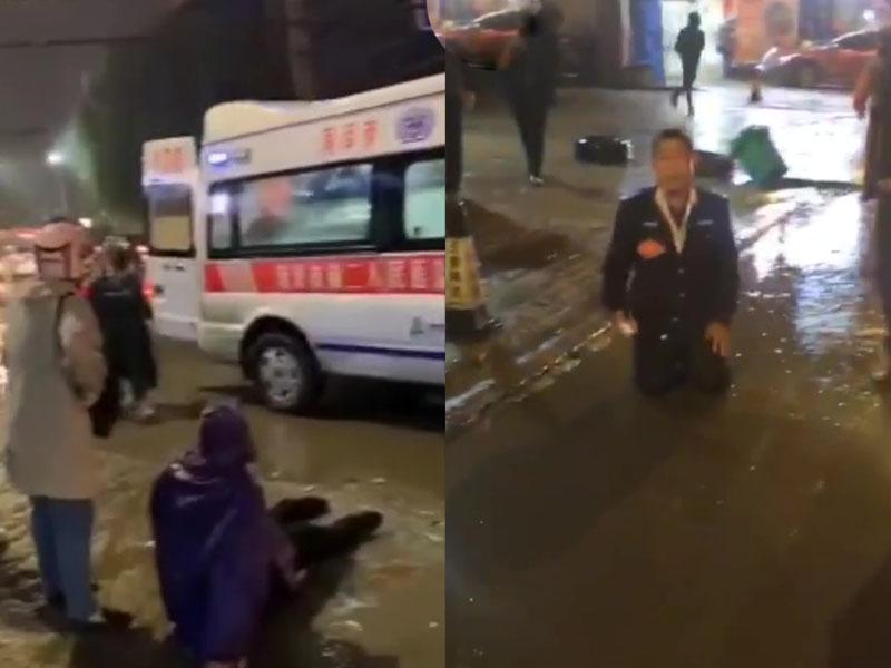 山東菏澤一輛巴士與4電動車相撞,致2死3傷,巴士司機當場下跪痛哭。(網圖)
