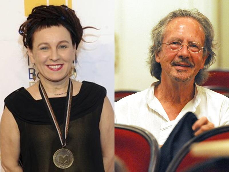 波蘭女作家Olga Tokarczuk(左)及奧地利作家Peter Handke(右)。AP