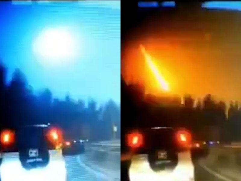 吉林松原附近,多地網民拍下隕石墜落瞬間, 天空火光一片。(網圖)