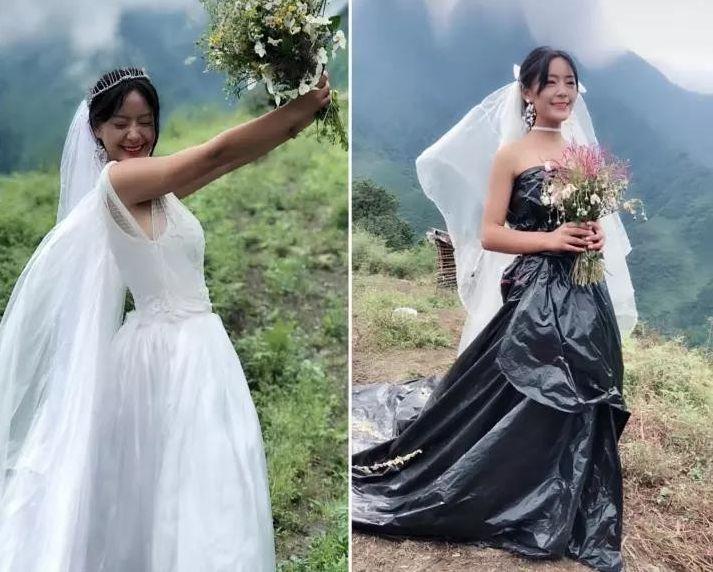 少女因穿著自製的「膠袋婚紗」而爆紅。網圖