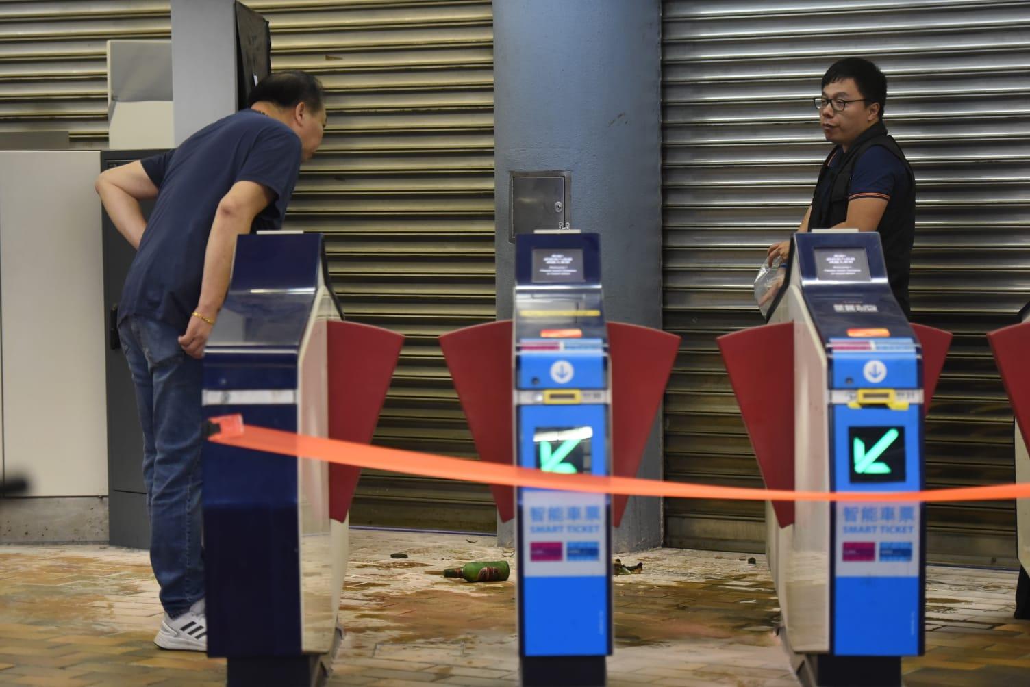 九龍塘站G1出入口被投擲汽油彈。