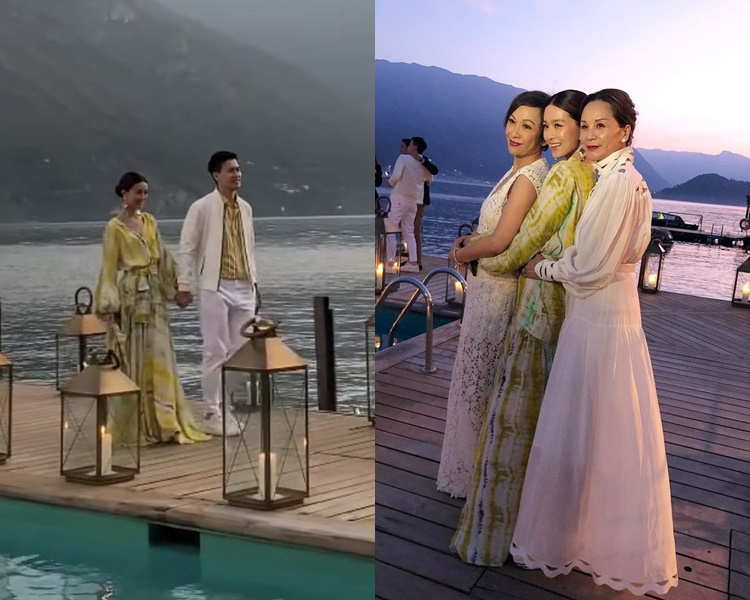 JM與老公在湖邊舉行迎賓派對,余安安與文媽媽跟她擁在一起連成一線。(ig圖片)