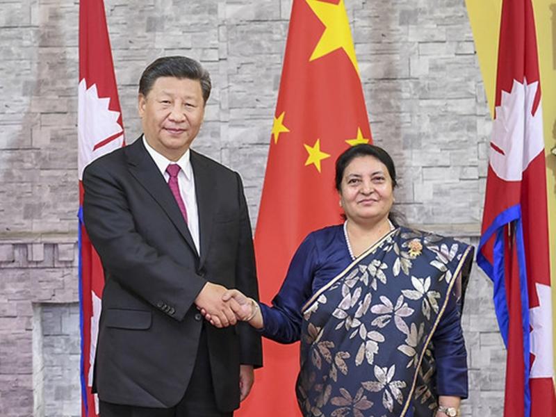 國家主席習近平今日在尼泊爾首都加德滿都與尼泊爾總理奧利會談。 網圖