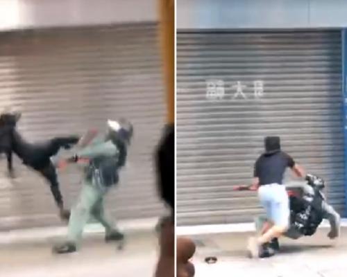 【修例風波】旺角防暴警拉扯黑衣人 遭示威者起飛腳毆打