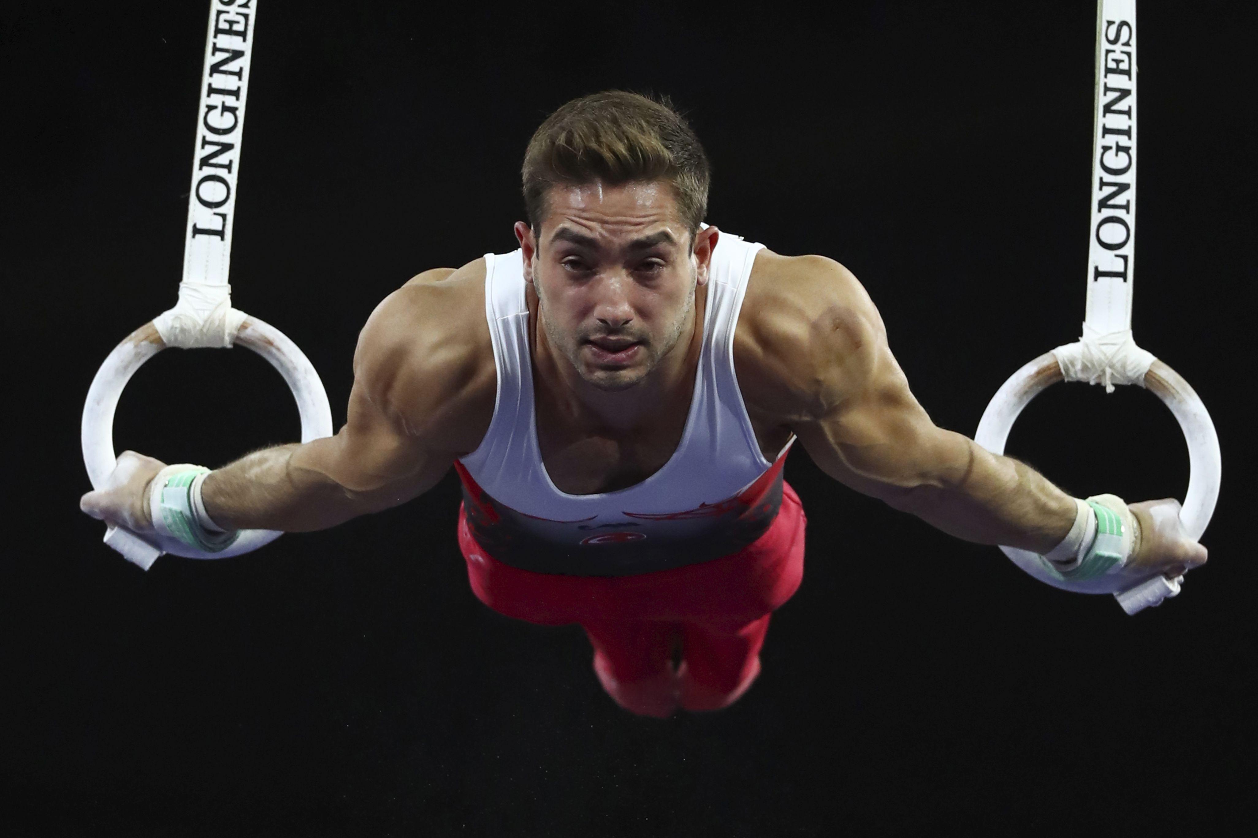 高拉克在吊環替土耳其首奪世錦賽金牌。AP