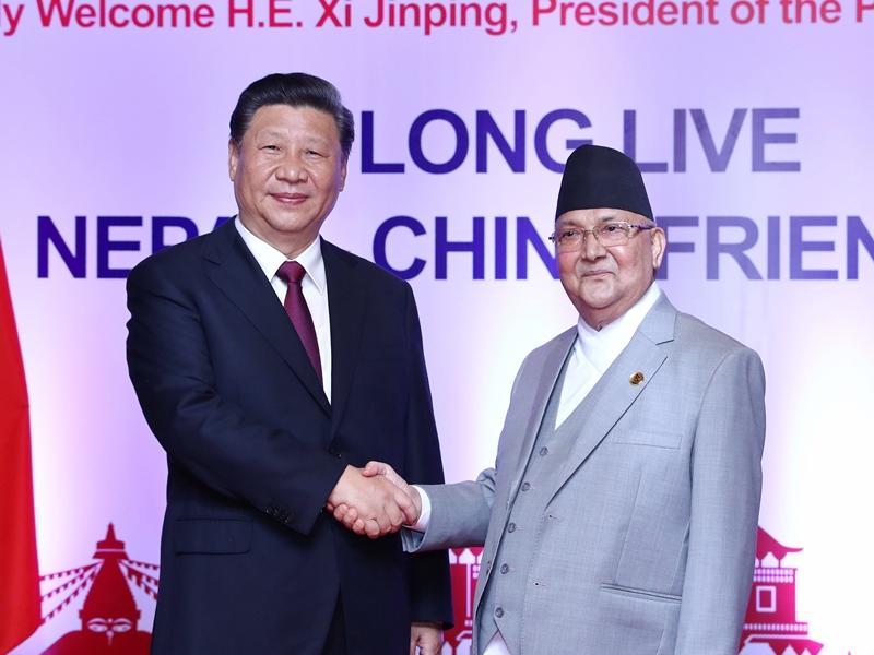習近平同尼泊爾總理奧利會談。