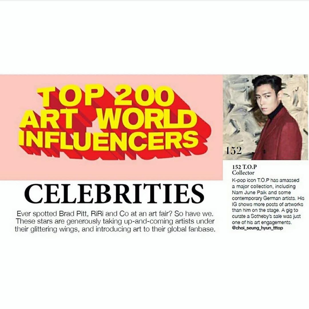 T.O.P被評選為「藝術世界影響力前200強」。(ig圖片)