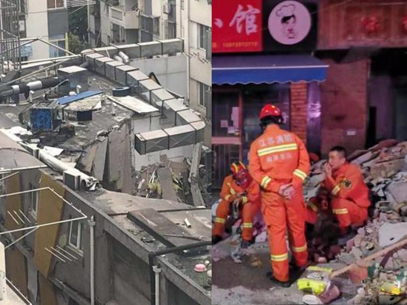 南京一商住樓局部坍塌 ,1人遇難4人受傷。(網圖)