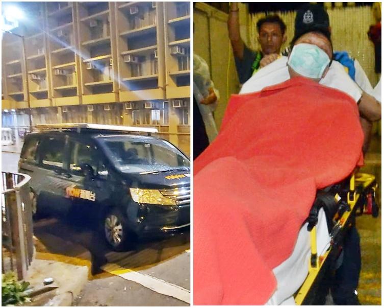 now新聞台攝影隊外判車長(右)在警署外取車(左)時,懷疑被布袋彈擊中。